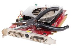 Repair video card close-up. Isolated background Stock Photo