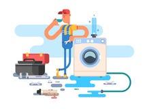 Repair of washing machines. Service maintenance, worker man, mechanic vector illustration Stock Photography