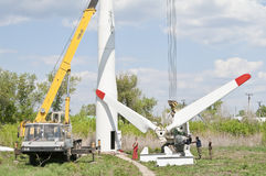 Repair of the wind turbine Royalty Free Stock Image