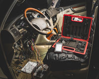 Repair the wiring of the car royalty free stock image