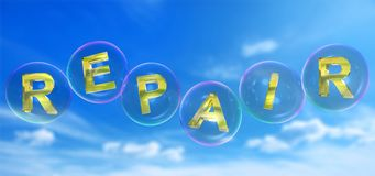The repair word in bubble. The repair word in soap bubble on blue sky background,3d rendered Stock Image