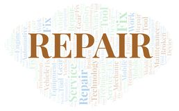 Repair word cloud. Wordcloud made with text only stock illustration