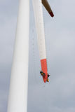 Repair work on the blades of a windmill for electric power production Stock Images