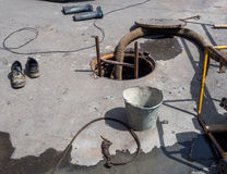 Repair work on the city water utility communications.  Royalty Free Stock Image