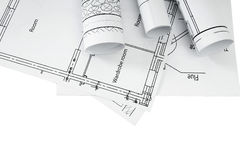 Repair work. Drawings for building on white a Stock Photos