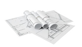 Repair work. Drawings for building on white a Stock Image
