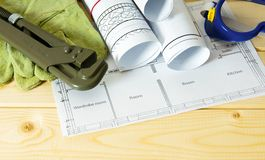Repair work. Drawings for building and working Stock Photography