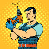 Repair work with a drill. Pop art retro style. Male professional homework Royalty Free Stock Image