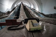 Repair work of hoists and escalators in the subway Stock Photos