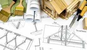 Repair work. Joiner's works. Drawings for building Royalty Free Stock Photo