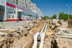 Repair work on the pipeline water supply, Sewerage and heating i Stock Images