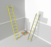 Repair work, a room prepared for painting. Aluminum stairs.  3d render, 3d illustration Stock Photo