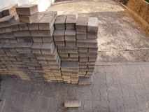 Repair work on the street, carried out laying paving slabs stock photography