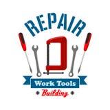 Repair work tools label emblem Stock Photography