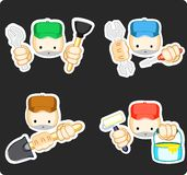 Repair workers. Vector set of icons of repair workers Royalty Free Stock Photos