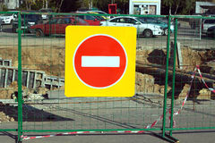 Repair works. Traffic sign prohibiting entry �loseup Royalty Free Stock Photo