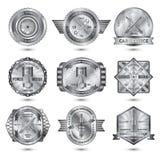 Repair Workshop Metal Emblems Set Stock Photography