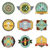 Repair Workshop Retro Badges Stock Photography