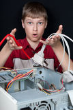 Repair your computer. Troubleshooting with a spanner Stock Images