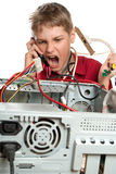 Repair your computer. A young man calls to technical support Stock Image