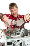 Repair your computer. Troubleshooting with a spanner Stock Photo