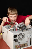 Repair your computer. Troubleshooting with a spanner Stock Photos