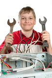 Repair your computer. Troubleshooting with a spanner Royalty Free Stock Photography
