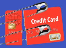 Repair your credit score is illustrated with a safety pin holding together a damaged credit card.