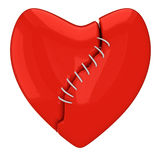 Repaired broken heart. Mending a red broken heart with white lace. Infidelity concept Royalty Free Stock Image