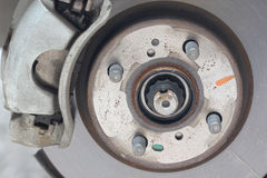 Repaired equipment of car brake disc. Royalty Free Stock Image