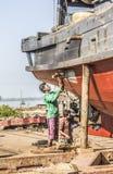Repairig el barco Foto de archivo