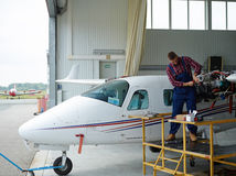 Repairing airplane Stock Photos