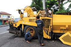Repairing asphalt finisher Royalty Free Stock Images