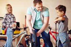 Repairing bicycle Royalty Free Stock Photo