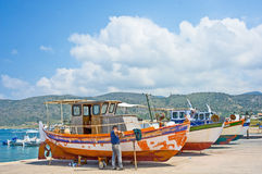Repairing boats at Matilos. Royalty Free Stock Photos