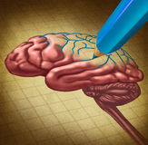 Repairing The brain. And restoring lost memory medical concept as a human thinking organ with a missing portion being redrawn with a blue pencil as a symbol and vector illustration