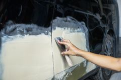 Car painting procedure at auto service store , Car accident at t royalty free stock photos