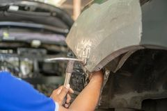 Car body work after the accident by preparing automobile for pai stock photo