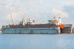 Repairing the cargo ship Stock Photos