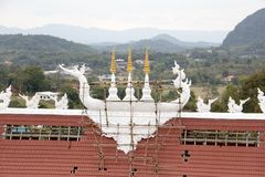 Repairing the church roof on the hill Royalty Free Stock Photography