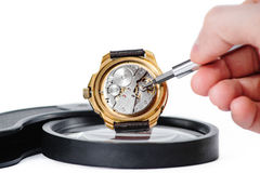 Repairing clock macro. Man repairs clock with turn-screw on loupe Royalty Free Stock Photos