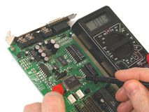 Repairing computer circuit board Royalty Free Stock Photo