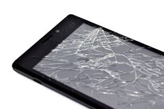 Repairing of damaged phone with broken screen stock images