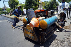Repairing demaged roads Stock Photography