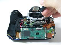 Repairing digital camera Royalty Free Stock Photography
