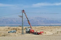 Repairing of electric power line stock images