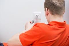 Repairing electrical socket Royalty Free Stock Photo
