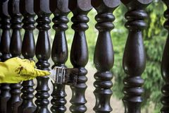 Repairing fence stock photos