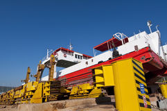 Repairing ferry in shipyard Royalty Free Stock Image