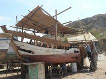 Repairing fishing boat Royalty Free Stock Photo
